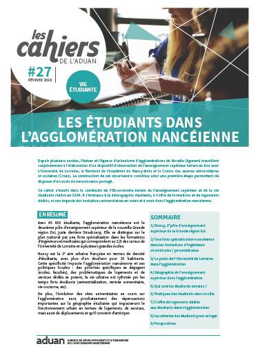 Nancy - Les cahiers de l'Aduan n°27 vie étudiante - Les étudiants dans l'agglomération nancéienne - Février 2016 | Dernières publications des agences d'urbanisme | Scoop.it