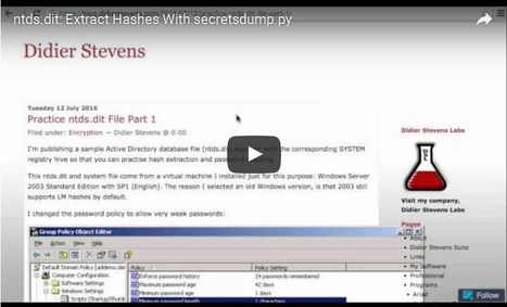 Video: ntds.dit: Extract Hashes With secretsdump.py | slides&video | Scoop.it