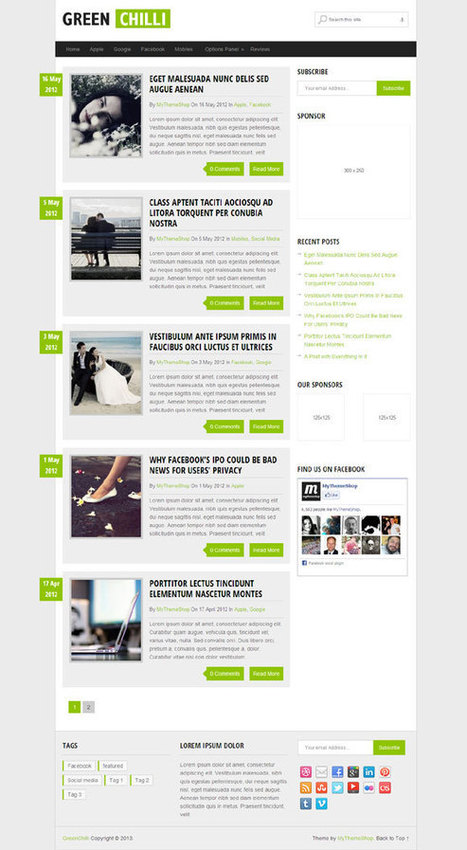 GreenChilli, Responsive Blog WordPress Theme   Free WordPress Themes VR   Scoop.it