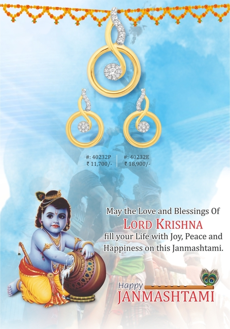 May the Love and Blessings of Lord KRISHNA fill your Life with Joy, Peace and Happiness on this Janmashtami. Happy Janmashtami! | Latest Indian Diamond Jewellery Designs | Scoop.it