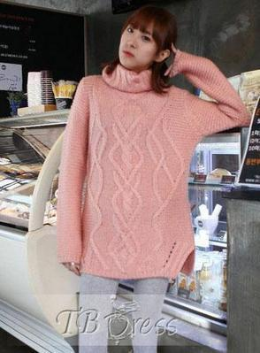 Vogue Korean New Arrival Turtle Collar Knit Long Hemp Flower Rhomb Sweater   fashion   Scoop.it