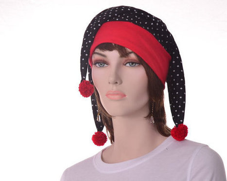 Jester hat black white polka dot red headband pompoms harlequin buffoon motley fool costume hat mens womens evil clown hat | Etsy | Scoop.it
