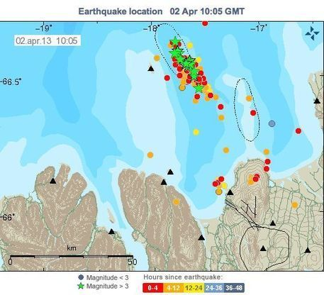 Iceland earthquake swarm (Grimsey area) – 314 earthquakes in less than 48 hours | Geospatial Pro - GIS | Scoop.it
