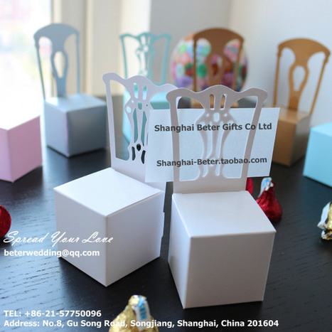 12pcs TH005/A white Chair Wedding Place Card Holder 结婚桌卡 | Wedding Favor Boxes | Scoop.it