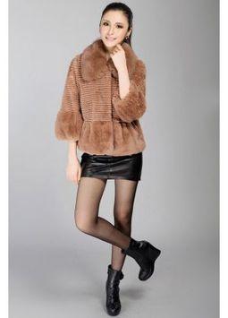 Women's Furs :: Fur Jackets :: Rabbit :: Rabbit Fur Jacket with Fox Fur Lapel Collar & Bell Sleeve - | furs | Scoop.it
