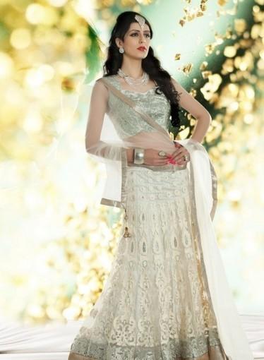 Buy online this affordable Off White Bridal Lehnga with Diamonds,Swarovski   Bridal Lehengas   Scoop.it