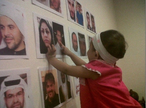 Hani Abdulaziz Shararah – 19th Martyr :  his daughter points to his picture on Nabeel Rajab's wall! | Human Rights and the Will to be free | Scoop.it