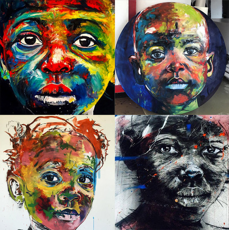 Artist Nelson Makamo's Dynamic #Portraits of #Johannesburg #Children #art #painting | Luby Art | Scoop.it