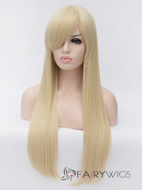 Dynamic Feeling from Long Blonde Female Straight Side Bang Hairstyle 30 Inch : fairywigs.com | Synthetic Hair Wigs | Scoop.it