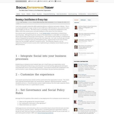 Becoming a Social Business in 10 easy steps | How to set up a Consulting Services Business | Scoop.it