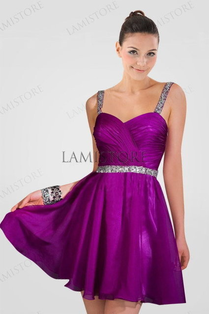 Charming Chiffon Homecoming Dress in Azalea Color with Pleats and Crystals : Lamistore.com | Lamistore Fashion Prom Dresses | Scoop.it