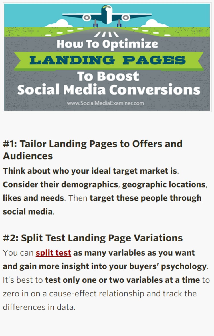 How to Optimize Landing Pages to Boost Social Media Conversions - Social Media Examiner | The Marketing Technology Alert | Scoop.it