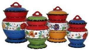 Viva Collection-Painted Deluxe 4-Piece Canister Set | Kitchen Canister Sets | Scoop.it