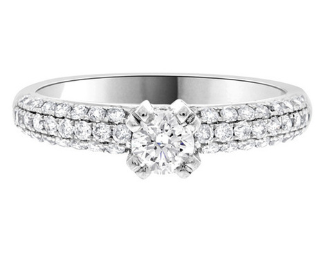 Side stone diamond ring pr1001 | Engagement Rings | Scoop.it