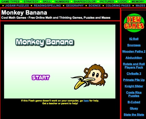 Cool Math Games - Monkey Banana - Free Online Math Games, Cool Puzzles, Mazes and Coloring Pages for Kids of All Ages | Technology Ideas | Scoop.it