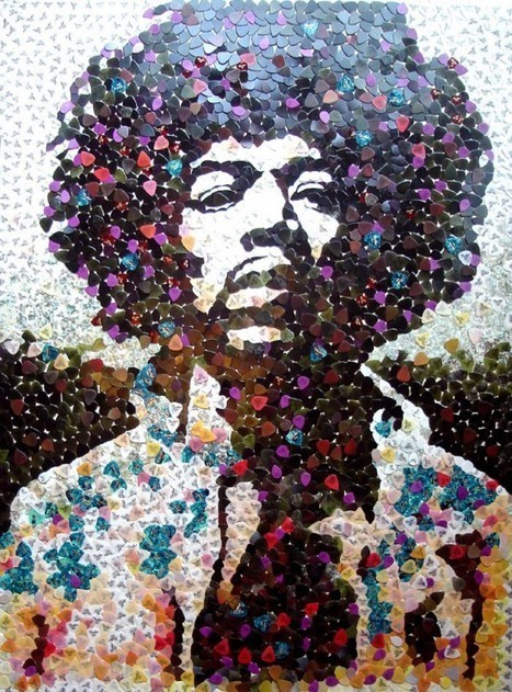 Hendrix portrait with 5000 guitar picks | Recyclart | Authors, Books, and So Much More! | Scoop.it