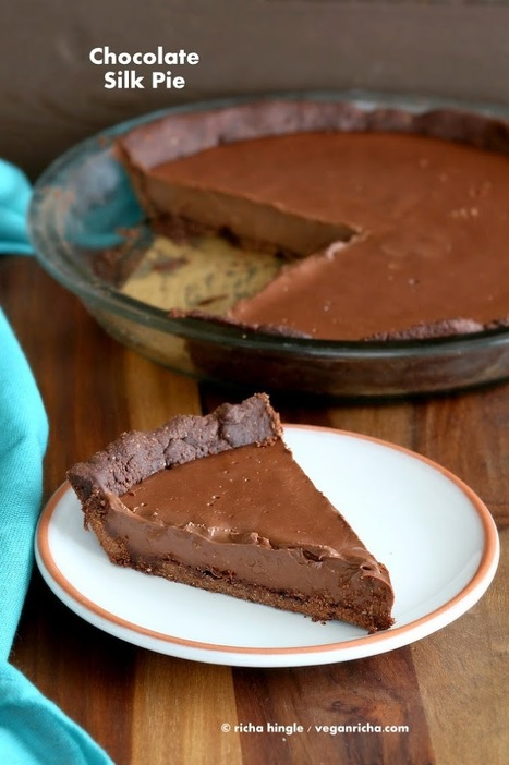 Dark Chocolate Silk Pie with Chocolate Almond Crust for Ella's Baby Shower. Vegan Glutenfree Soyfree Recipe - Vegan Richa   Mincir Autrement   Scoop.it