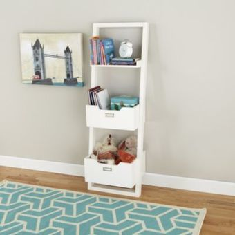 Little Sloane Leaning Bookcase with Bins (White) | À bloguer | Scoop.it