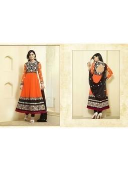 Buy Latest Vikruti Black And Orange Georgette Anarkali Suit 9672 - Shweta Tiwari Designer Anarkali Suit Collection at skbmart.com, Shweta Tiwari in Anarkali Long Suits Beautiful Dress, Shweta Tiwar... | Online Shopping | Scoop.it