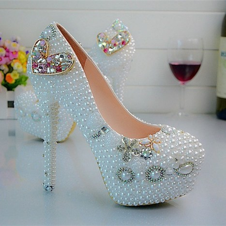 Heart Rhinestone Wedding Bride Shoes Plus Size White Pearl Platform Party Prom Shoes Handmade Women Dress Shoes Size 44 | Online Marketing Tips | Scoop.it