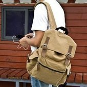 Khaki multi pockets school backpack | personalized canvas messenger bags and backpack | Scoop.it