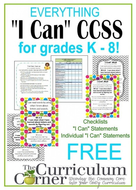 "Everything CCSS ""I Can"" for K - 8 Grades - The Curriculum Corner 123 