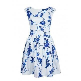 White/Blue Floral Print Dress | Online Shopping | Nigeria | Ghana | BeSaz Boutique | Besaz Boutique | Scoop.it