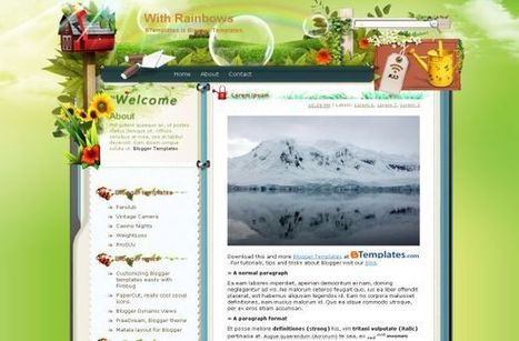 Free Green Rainbow Nature Blogger Layout Template | gnjghj | Scoop.it
