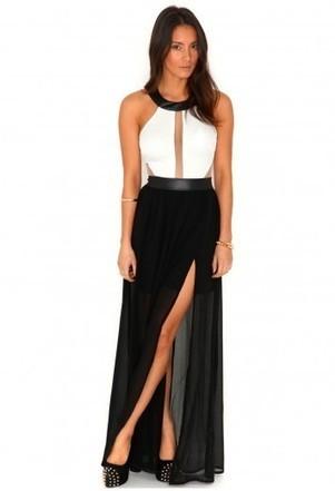 Missguided - Imogen Contrast Mesh Panel Maxi Dress | Little Black Dress | Scoop.it