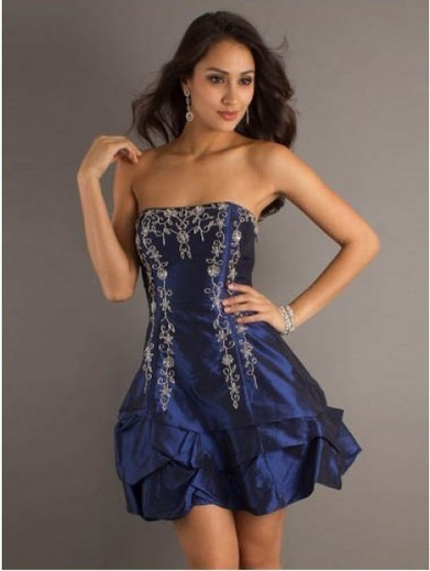 Cheap A-line Strapless Taffeta Royal Blue Cocktail Dresses/Short Prom Dress With Embroidery #VenusD023 | Cheap Wedding Dresses UK, Bridesmaid Dresses, Evening Dresses & Prom Dresses In UK | Scoop.it
