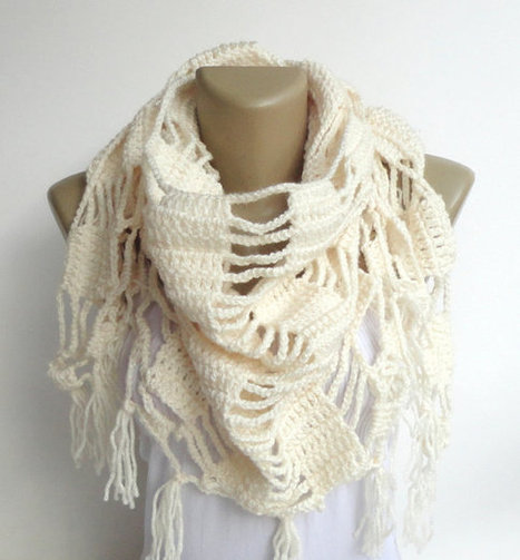 fashion ivory scarf ,women shawl scarves ,neckwarmer - crocheted scarf | scarf | Scoop.it