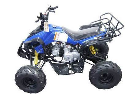 """""""The Kandi MDL-GA004-3 110CC ATV is a blue sporty ATV that offers a fun and fast ride for young riders. 