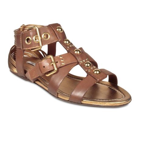 Miumiu Women's Designer Shoes Brown Leather Strap Gladiator Sandals | Designer Womens Shoes | Scoop.it