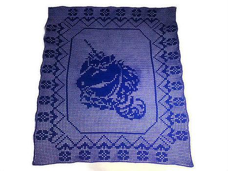 Crochet Unicorn Doily, Filet Crochet, Crochet Tablerunner, Wall Decor | Crochet Miracles Shop on Etsy | Scoop.it