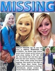 Ashley Prazan (16) missing from Omaha (Nebraska) since November 12, 2014 | Missing Children | Scoop.it