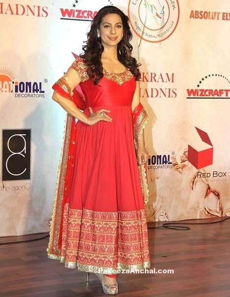 Juhi Chawla in Red Netted with Gold Embroidery Churidar by Vikram Phadnis | Indian Fashion Updates | Scoop.it