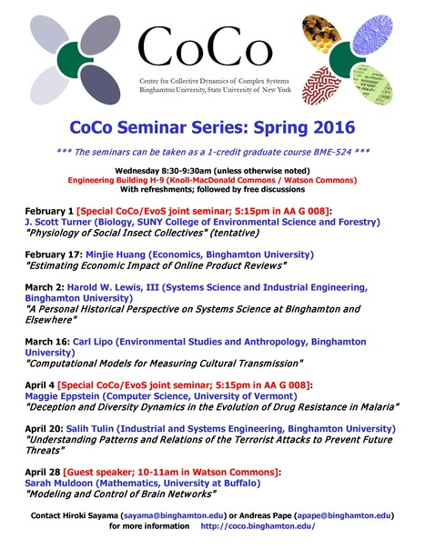 Spring 2016 CoCo Seminar Schedule | Center for Collective Dynamics of Complex Systems (CoCo) | Scoop.it