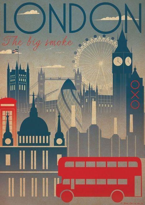 London City Art Deco Bauhaus Poster Print A3 A2 A1 Vintage Retro Original Design 1940's Vogue Cityscape Travel | art deco and bauhaus | Scoop.it