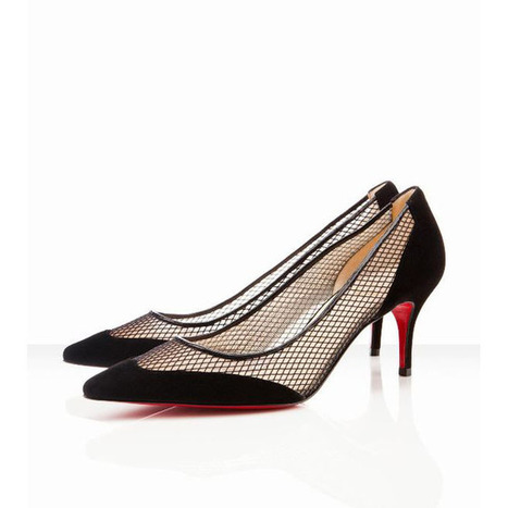 Red Bottom Christian Louboutin Mireille 70mm Suede And Fishnet Pumps Black | new and share style | Scoop.it