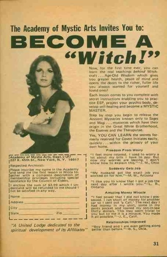 """The Academy of Mystic Arts Invites You to: BECOME A """"Witch!"""" 