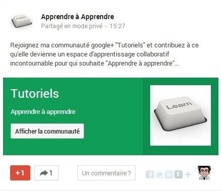 "Ma communauté Google+ ""Tutoriels"" - Espace d'apprentissage collaboratif | Wepyirang | Scoop.it"