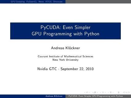 PyCUDA   Andreas Klöckner's web page   GPU-1   Scoop.it