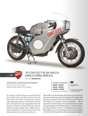 1972 Ducati 750 Imola 200 Miglia Imola Race Replica | RM Auctions | Ductalk Ducati News | Scoop.it