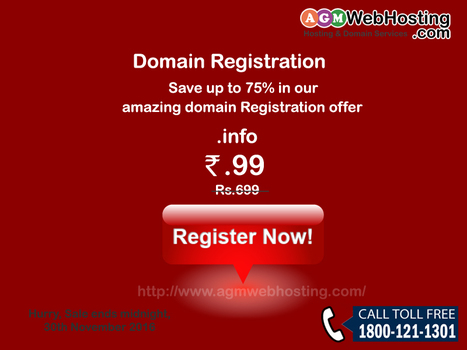 Amazing Domain Registration Offer Just Rs.99 | AGM Web Hosting | Scoop.it
