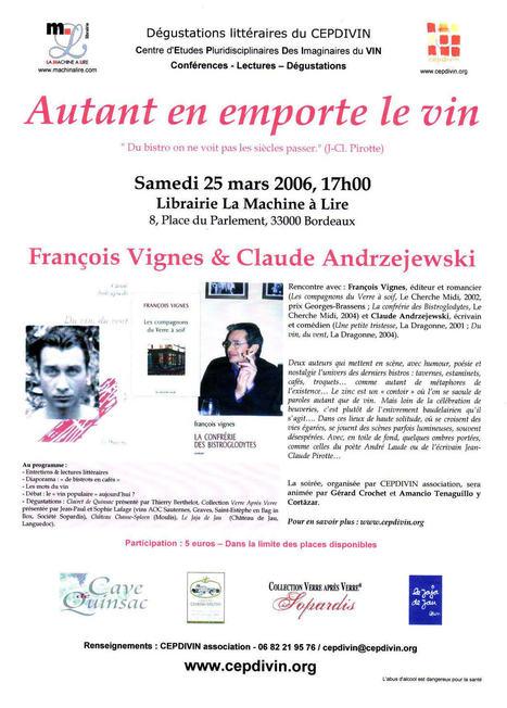 Dégustation littéraire : Autant en emporte le vin - François Vignes et Claude Andrzejewski   CEPDIVIN - Les Imaginaires du Vin   Scoop.it