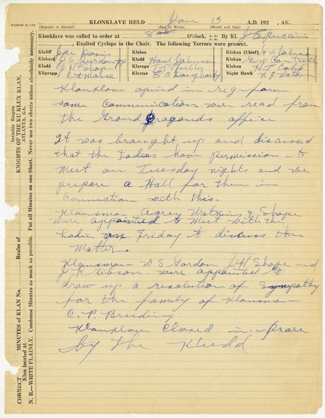 Minutes From a 1920s KKK Meeting on Special KKK Stationery - The Slatest | Racism | Scoop.it