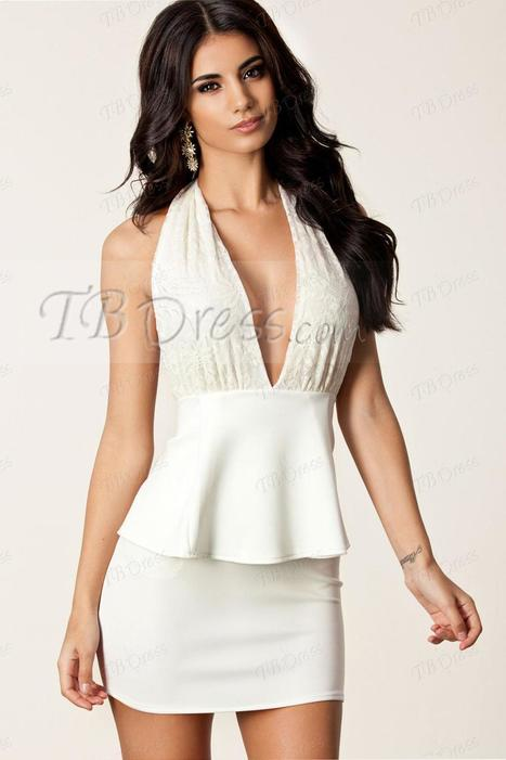 Deep V-Neck Halter Peplum Backless Bodycon Dress | FASHION-BEAUTY-CLOTHES-GIRL | Scoop.it