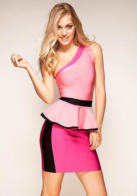 Herve Leger Pink One Shoulder Peplum Waist Bandage Dress | Sexy | Scoop.it