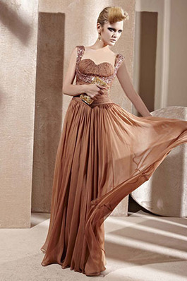 Floor Length Brown Pleated Sleeveless Evening Dresses - Prom Dress | Prom Dresses 2014 | Scoop.it