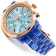 New Geneva Blue Neon Bracelet Rose Gold Case Fashion Women's Oversized Watch | women's fashion watches | Scoop.it